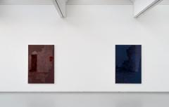 'Lichtwechsel', Stadtmuseum Siegburg, 2015; v.l.n.r.: BR-H1 (240214), 2014, BLD-H7 (251014), 2014; jeweils Öl, Lack, HDF-Schichtplatte, 172 x 115 cm