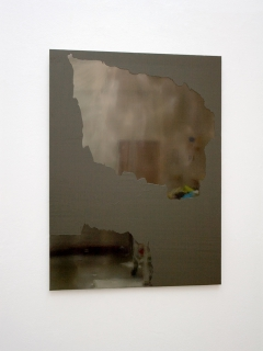 UM-ASF3 (091111) 2011; Öl, Lack, Spiegelfolie, Aluminium, 100 x 74 cm